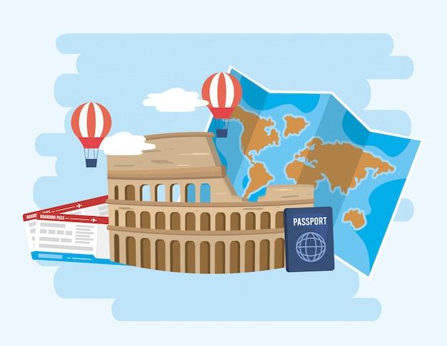 Koloseum z balonami i globalną mapą z paszportem