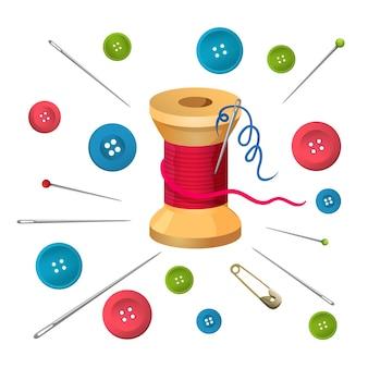 Kołowrotek z nici lub szpulki otoczony szpilkami i igłami, guziki ilustracji wektorowych duży i mały rozmiar na białym tle. akcesoria do szycia