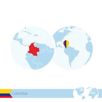 Kolumbia na świecie z flagą i regionalną mapą kolumbii. ilustracja wektorowa.