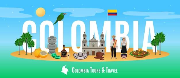 Kolumbia słowo ilustracja