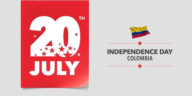 Kolumbia szczęśliwy dzień niepodległości. kolumbijskie święto narodowe 20 lipca tło z elementami flagi w kreatywnym poziomym projekcie