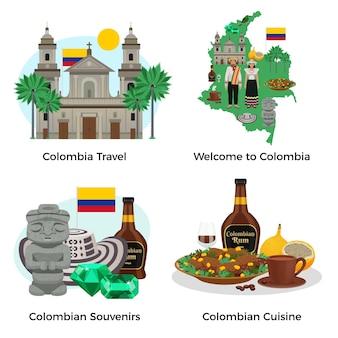 Kolumbia turystyka zestaw z pamiątkami i kuchnią płaską ilustracją na białym tle