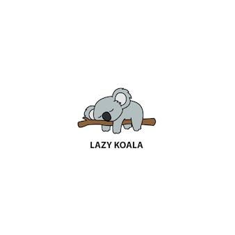 Kołysający koali dosypianie na gałęziastej kreskówce, wektorowa ilustracja