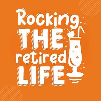 Kołysanie życia na emeryturze premium emerytura napis wektor projekt