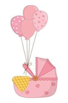 Kołyska z balonami ilustracyjnymi