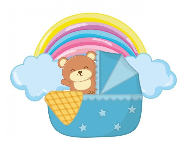 Kołyska z zabawkową niedźwiadkową ilustracją