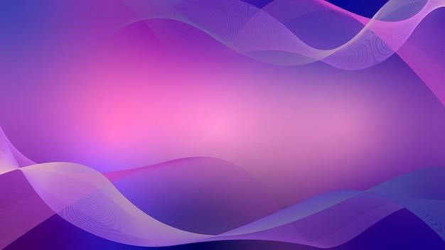 Kołyszące się faliste linie abstrakcyjne tło fali różowy i niebieski z żółtymi paskami