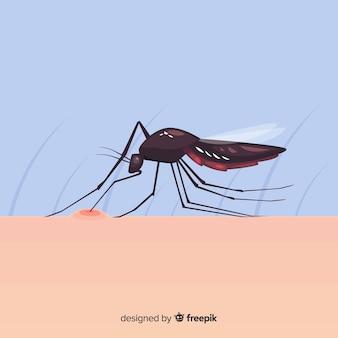 Komar gryzący człowieka o płaskiej konstrukcji