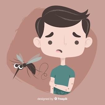 Komar gryzący osobę o płaskiej konstrukcji