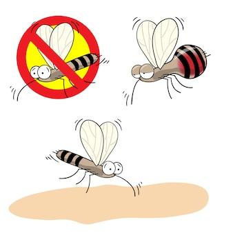Komary zatrzymują znak - kreskówka wektor zabawny komar pijany krwią w czerwonym przekreślonym kółku