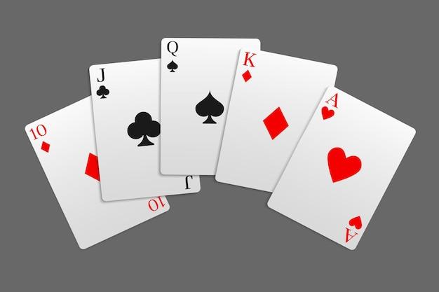 """Kombinacja kart """"street"""" w grze w pokera. kasyno online. element do zgadywania projektu. ilustracja wektorowa."""