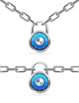 Kombinacja łańcucha i kłódki. sprzęt ochronny.