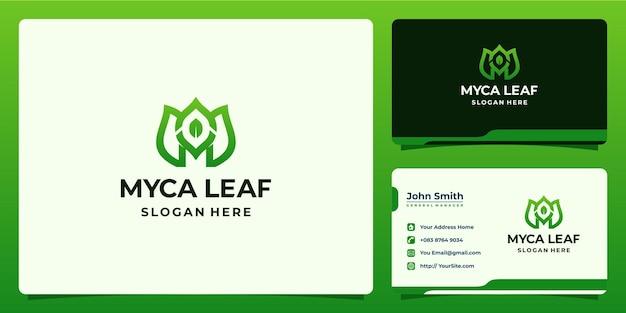 Kombinacja litery m z logo liścia