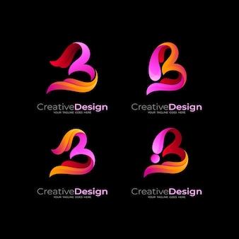 Kombinacja logo litery b z kolorowym wzornictwem, ikona stylu 3d