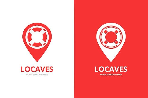 Kombinacja logo wektorowego i wskaźnika mapy unikalny szablon projektu logotypu łodzi ratunkowej i pinezki