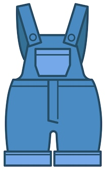 Kombinezon z regulowanymi ramiączkami i kieszeniami, dżinsowe ubrania dla dzieci. ikona na białym tle odzież dla dzieci, body niebieskie dżinsy dla niemowląt. modna stylowa odzież dla dzieciaków, wektor w mieszkaniu