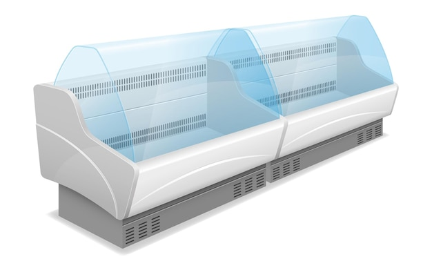 Komercyjna lodówka sklepowa do chłodzenia i przechowywania żywności na białym tle
