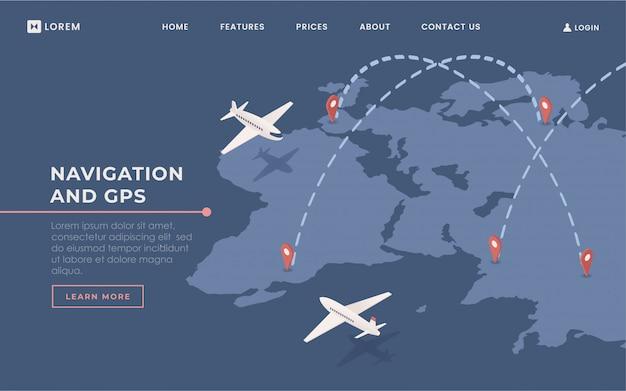 Komercyjne linie lotnicze lądowania szablon wektor strony