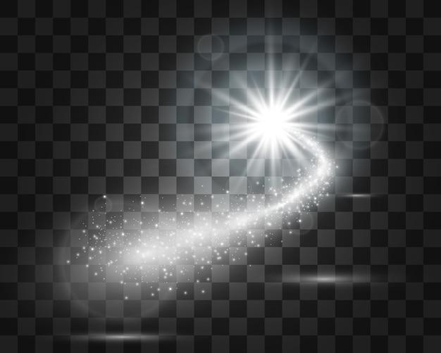 Kometa na przezroczystym tle. jasna gwiazda. gwiaździsta piękna ścieżka. spadająca gwiazda. ogon komety. leci meteoryt. obiekt kosmiczny.