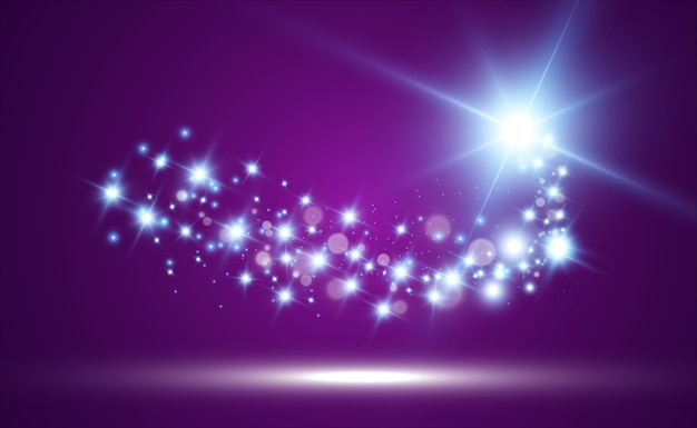 Kometa na przezroczystym tle. jasna gwiazda. gwiaździsta piękna ścieżka. spadająca gwiazda. ogon komety.