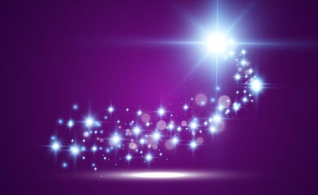 Kometa na przezroczystym tle. jasna gwiazda. gwiaździsta piękna ścieżka. spadająca gwiazda.