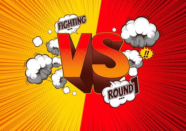 Komiczka styl versus bitwy tło, ilustracja.