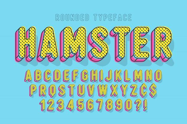Komiczna czcionka liniowa, kolorowy alfabet, krój pisma