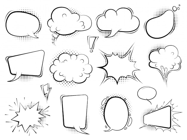 Komiczne bąbelki. balony kreskówka mowy mówić sztuki retro z półtonów