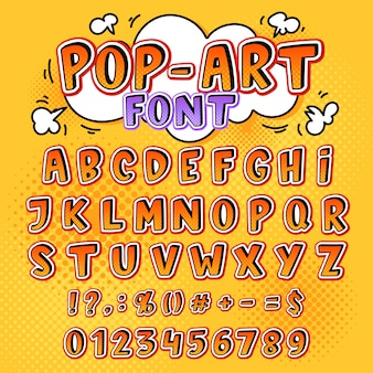 Komiczne czcionki kreskówka litery alfabetu w stylu pop-art i alfabetyczne ikony tekstu dla ilustracji typografii