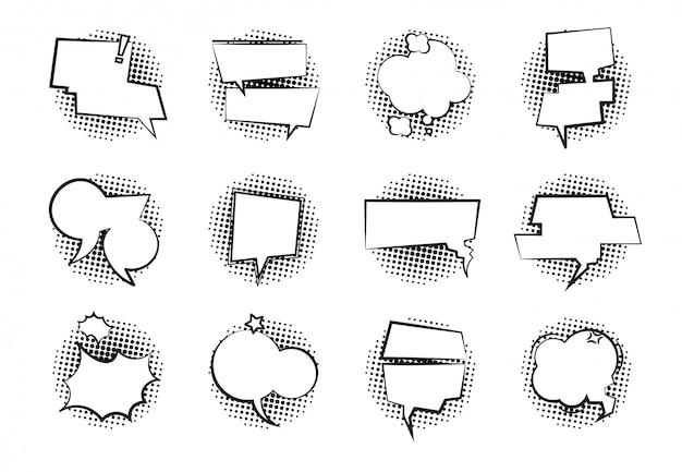 Komiczne dymki. retro rozmowa chmura monochromatyczne dialog balon kreskówka mówić czat puste balony mowy. zestaw baniek komiksowych