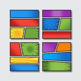 Komiczne winiety puste w stylu pop-artu w różnych kolorach. tło wektor ilustracja.