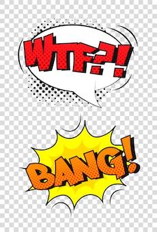 Komiczny efekt dźwiękowy. kreskówka dymek z frazą wtf i bang.