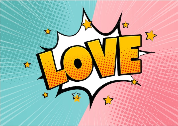 Komiks bańki kształt serca miłość pop-artu w stylu retro. romans i walentynki. uwielbiam wybuch kreskówek. zakochiwać się.