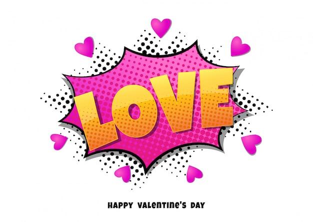 Komiks bańki serce kształt miłość pop-art w stylu retro