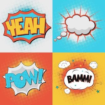 Komiks bubble text ustawiony na tle w kropki w stylu retro pop-art