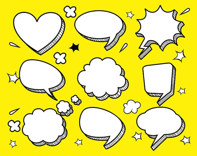 Komiks dialogowy zestaw pusty chmura