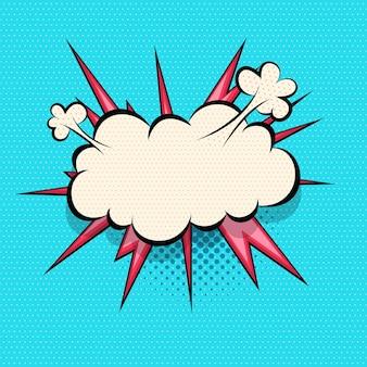 Komiks dymek eksplozji chmury dla tekstu pop-artu