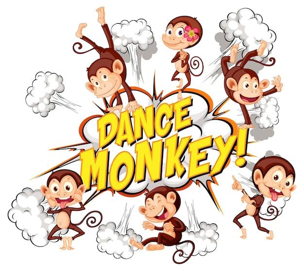 Komiks dymek z tekstem tańca małpy