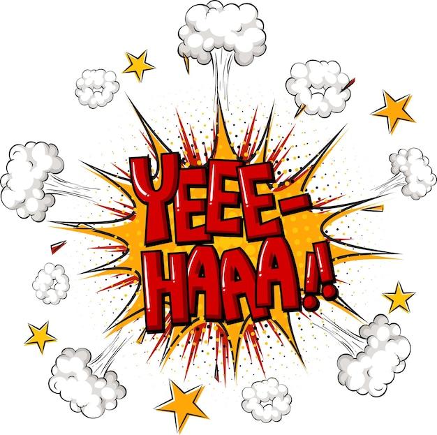 Komiks dymek z tekstem yee-haa