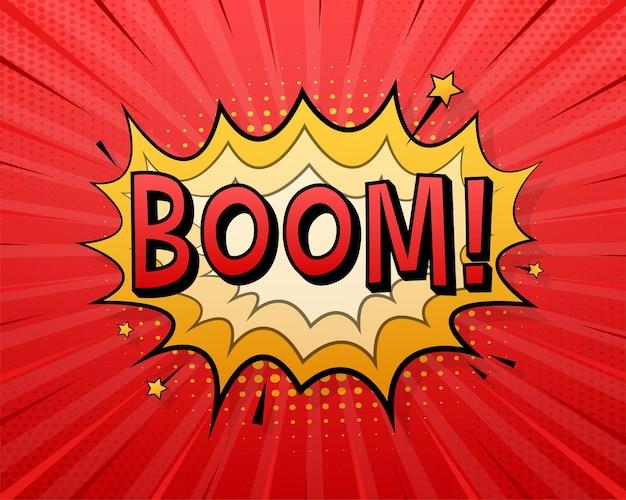 Komiks dymki z tekstem boom. ilustracja kreskówka starodawny. symbol, przywieszka, etykieta z ofertą specjalną, odznaka reklamowa. czas ilustracja wektorowa.