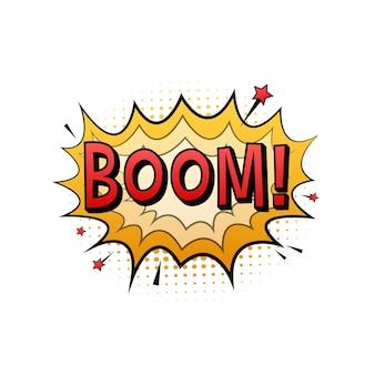 Komiks dymki z tekstem boom. ilustracja kreskówka starodawny. symbol, przywieszka, etykieta z ofertą specjalną, odznaka reklamowa. ilustracja wektorowa