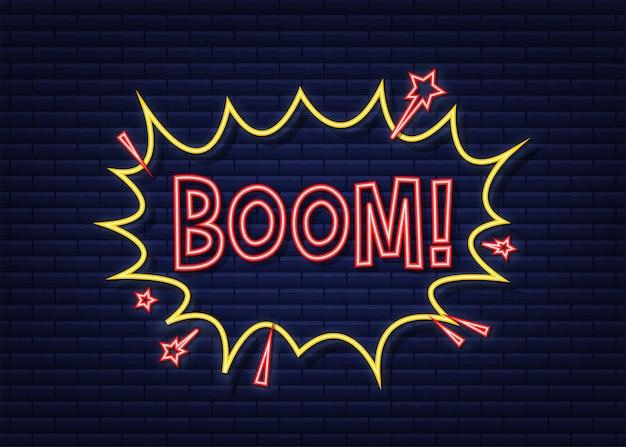 Komiks dymki z tekstem boom. neonowa ikona. symbol, przywieszka, etykieta z ofertą specjalną, odznaka reklamowa. czas ilustracja wektorowa.