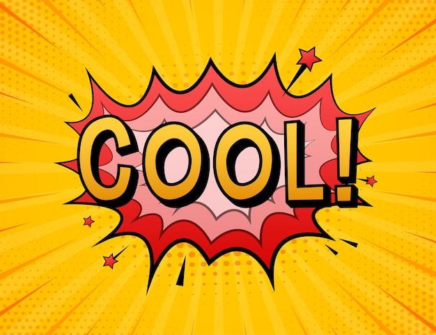 Komiks dymki z tekstem cool. ilustracja kreskówka starodawny. symbol, przywieszka, etykieta z ofertą specjalną, odznaka reklamowa. ilustracja wektorowa