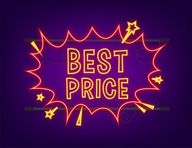 Komiks dymki z tekstem najlepsza cena. neonowa ikona. symbol, przywieszka, etykieta z ofertą specjalną, odznaka reklamowa. czas ilustracja wektorowa.