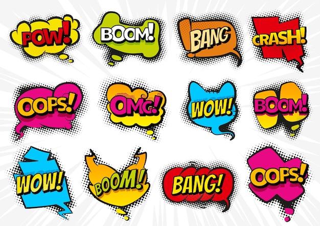 Komiks dymki z tekstem wow, omg, boom, bang. ilustracje kreskówka na białym tle. kolekcja komiksów kolorowe efekty tekstowe czatu dźwiękowego w stylu pop-art.
