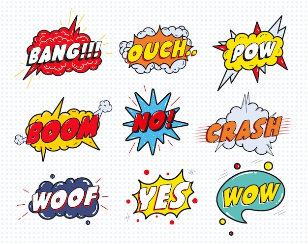 Komiks dźwięk mowy efekt pęcherzyki zestaw na białym tle. wow, pow, bang, ouch, crash, woof, nie, tak napis.