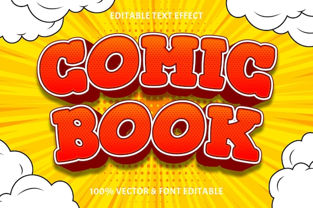Komiks edytowalny efekt tekstowy 3 wymiary wytłoczony styl komiksowy