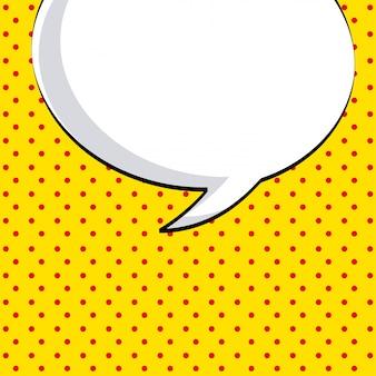 Komiks ikona na ilustracji wektorowych kropkowanym tle