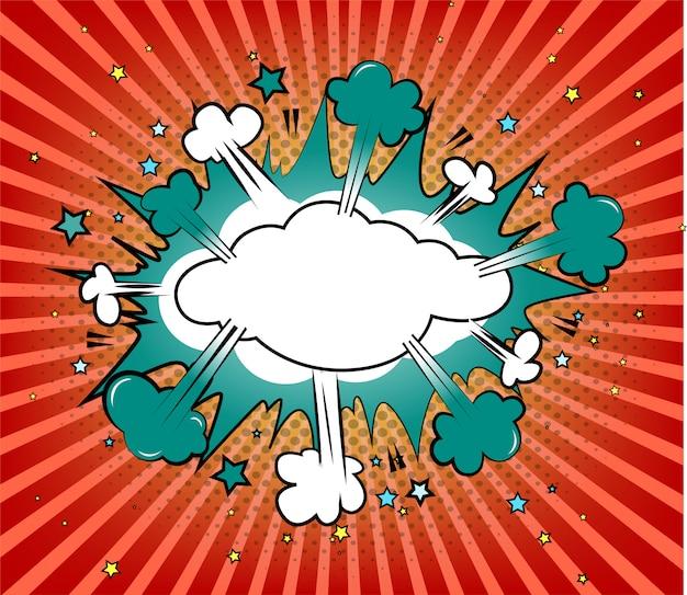 Komiks ikona pop-art bomby na niebieskim tle promieni