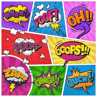 Komiks jasny szablon z dymki na kolorowe ramki